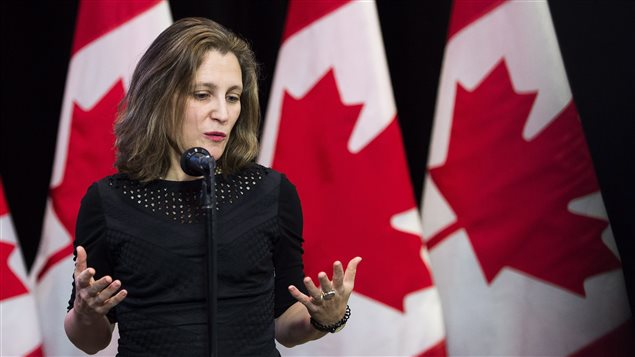 Minister of Foreign Affairs Chrystia Freeland speaks to the media before the Liberal cabinet retreat in London, Ont., on Friday, January 12, 2018.