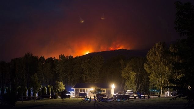 Too much rain in B.C, was followed by a summer of drought leading to a recodr number of wildfires.A wildfire burns on a mountain behind a home in Cache Creek, B.C., in the early morning hours of Saturday July 8, 2017.