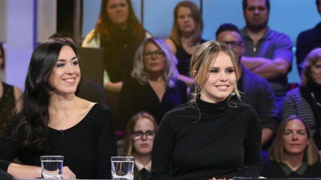 Aurélie Lactôt (izq) y Léa Clermont-Dion en el programa de la televisión francesa de Radio Canadá, Tout le Monde en Parle