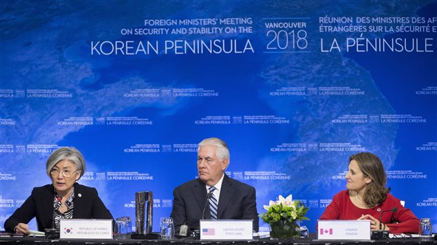 Minister of Foreign Affairs, Chrystia Freeland, right to left, and Secretary of State for the United States, Rex Tillerson look on as Korean Foreign Affairs Minister Kang Kyung-wha speaks at the opening remarks of the meeting on Security and Stability on the Korean Peninsula in Vancouver, B.C., Tuesday, Jan. 16, 2018.