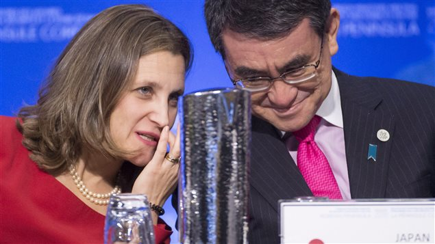 Minister of Foreign Affairs, Chrystia Freeland speaks with Japan's Foreign Affairs Minister Taro Kono during the meeting on Security and Stability on the Korean Peninsula in Vancouver, B.C., Tuesday, Jan. 16, 2018.