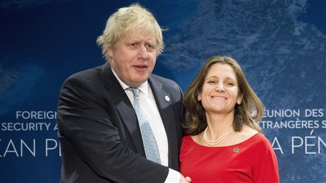 Minister of Foreign Affairs Chrystia Freeland meets Secretary of State for Foreign and Commonwealth Affairs Boris Johnson during the meeting on Security and Stability on the Korean Peninsula in Vancouver, B.C., Tuesday, Jan. 16, 2018.