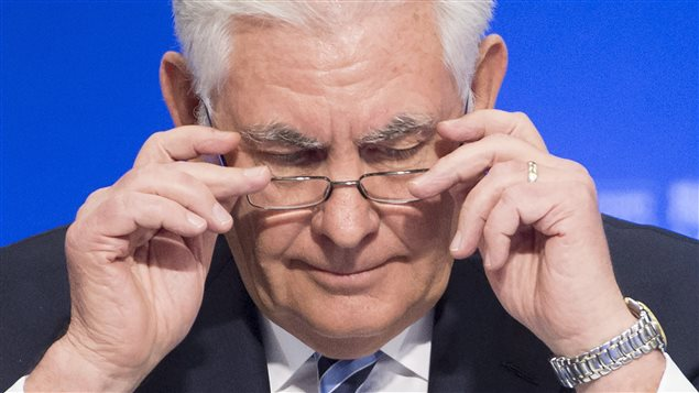 Secretary of State of the United States, Rex Tillerson adjusts his glasses during the meeting on Security and Stability on the Korean Peninsula in Vancouver, B.C., Tuesday, Jan. 16, 2018.