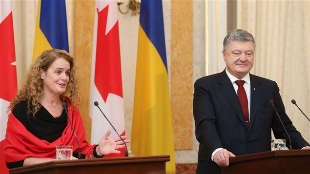 Canadian Gov. Gen. Julie Payette and Ukrainian President Petro Poroshenko speak at a joint press conference at the Potocki Palace in the western Ukrainian city of Lviv, on Thursday, Jan. 18, 2018.