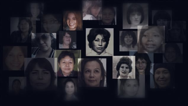Montage of photos of missing or murdered inigenous women