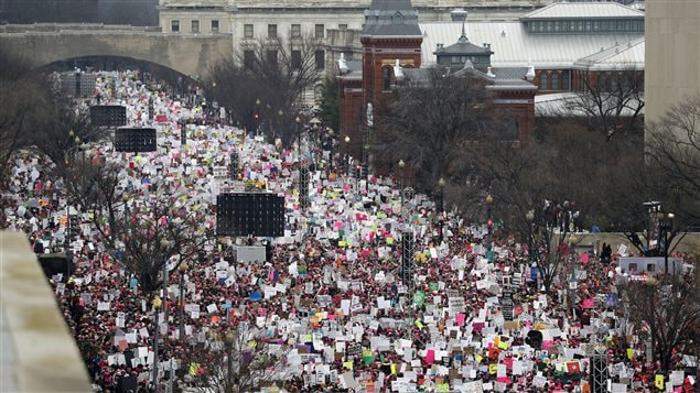 Public protests like this women's march on Washington on January 21, 2017 are effective ways to counter the authoritarian populist agenda, says Human Rights Watch.