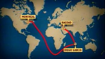 Trajet de la cargaison d'uranium de Bagdad à Montréal
