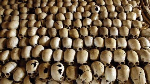 Crânes de victimes du génocide rwandais en 1994