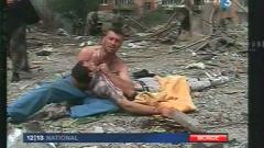 Après des bombardements russe dans la ville géorgienne de Gori, le 9 août 2008