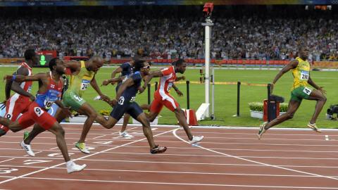 Usain Bolt en finale du 100 m à Pékin.