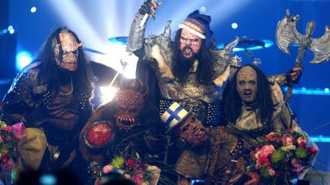 Le groupe finlandais Lordi fête sa victoire à l'Eurovision 2007
