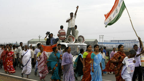 Manifestation à Singur contre l'usine de Tata Motors