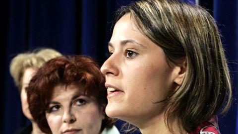 Elsie Lefebvre, en juin 2005, en compagnie de l'ex-députée péquiste Diane Lemieux