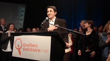 Amir Khadir le soir de son élection dans Mercier
