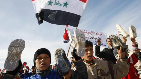 Jeunes qui manifestent à Bagdad