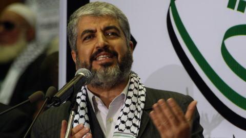 Khaled Mechaal lors de son discours à Damas.