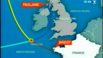 Carte montrant l'endroit où se sont heurtés les deux sous-marins