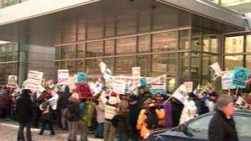 Une manifestation des lock-outés du Journal de Montréal