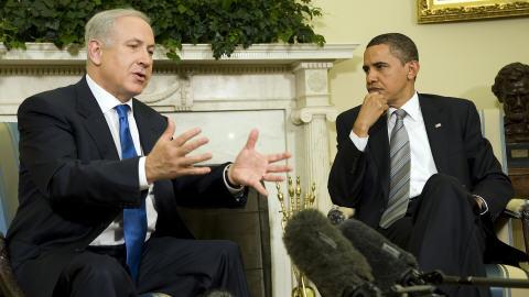 Benyamin Nétanyahou et Barack Obama à la Maison-Blanche en mai 2009