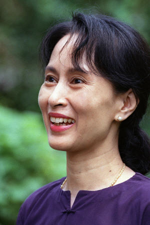 Aung San Suu Kyi, en juillet 1995