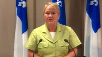 La chef du Parti québécois, Pauline Marois, lors de son point de presse