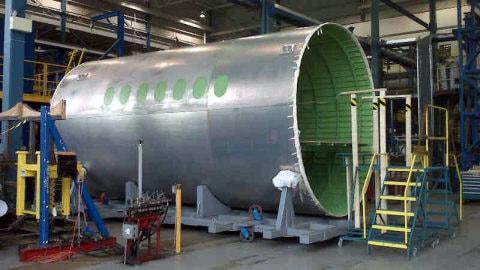 Une partie du fuselage de la CSeries.