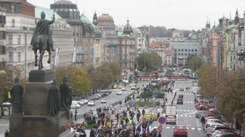 La place Venceslas, à Prague