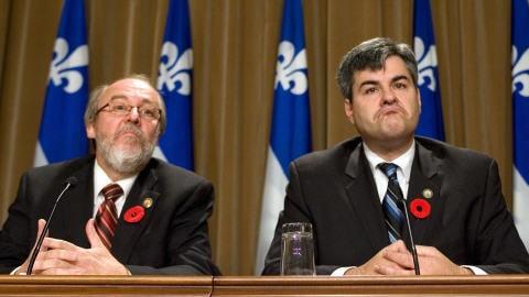Marc Picard et Éric Caire annonçant qu'ils quittent l'Action démocratique du Québec