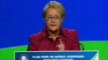 La chef du Parti québécois, Pauline Marois, lors de son discours de clôture au conseil national du PQ, dimanche