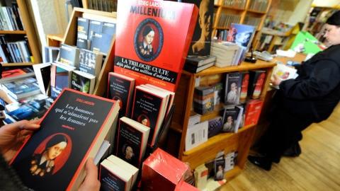 Des romans de la trilogie Millenium du suédois Stieg Larsson dans une librairie d'Arles, en France.
