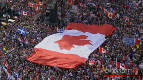Grand rassemblement du love-in, à Montréal, à quelques jours du référendum de 1995.