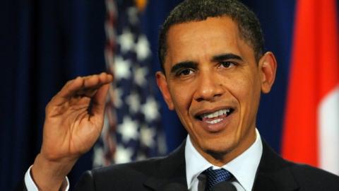 Le président Obama, lors d'un point de presse donné à l'issue du projet d'entente obtenu.