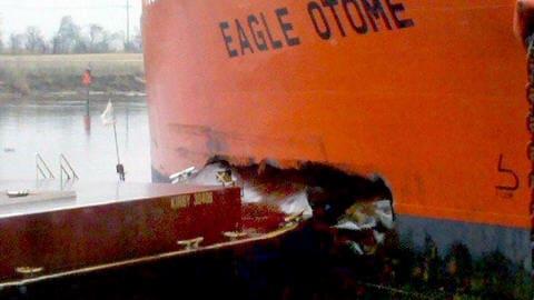 Collision du pétrolier Eagle Otome avec une barge au Texas