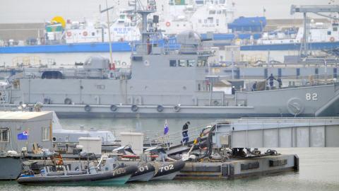 Un navire sud-coréen à la base navale de Incheon, en mer Jaune.