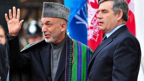 Hamid Karzaï et Gordon Brown lors de l'ouverture de la conférence sur l'Afghanistan