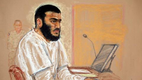 Dessin d'Omar Khadr réalisé lors d'une comparution devant un tribunal militaire à Guantanamo, le 19 janvier 2009.