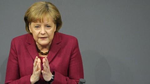 La chancelière allemande Angela Merkel, dans un discours au Bundestag