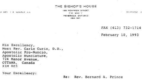 En-tête de la lettre de 1993 publiée par le Globe and Mail