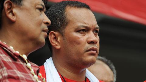 Nattawut Saikar, l'un des principaux organisateurs des Chemises rouges à Bangkok, le 16 avril 2010.