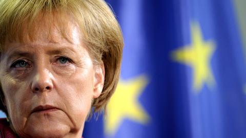 Angela Merkel lors d'un point de presse le 8 mai 2010.