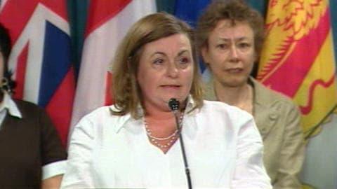 La mère de Nathalie Morin lors d'un point de presse