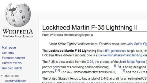 L'article de Wikipédia sur les F-35 a été la cible de cybervandalisme.