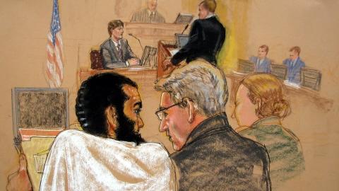 Omar Khadr lors des audiences préliminaires à son procès à Guantanamo, le 9 août 2010