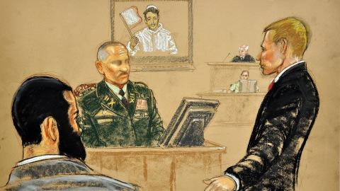 Dessin juridique du procès d'Omar Khadr, le 12 août