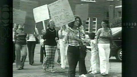 Manifestation à l'époque de la création du parc national Forillon, en Gaspésie, en 1970