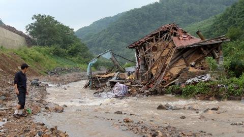 Les inondations dans la ville de Kuandian, en Chine