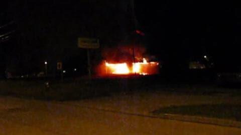 L'église Notre-Dame de Roberval en feu