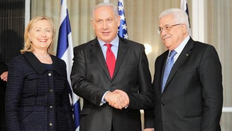 Hillary Clinton, Benyamin Nétanyahou et Mahmoud Abbas