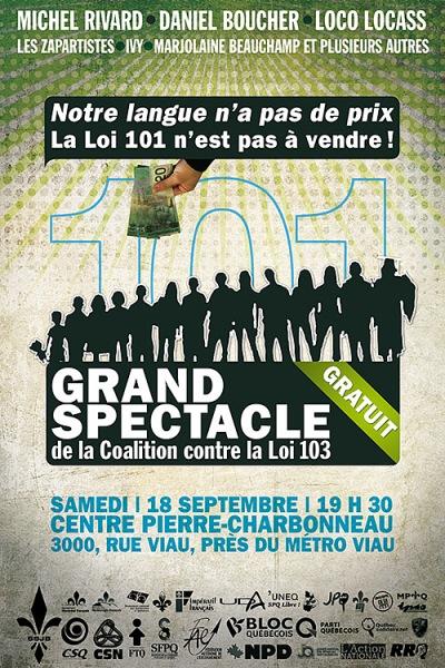 L'affiche du spectacle contre la loi 103