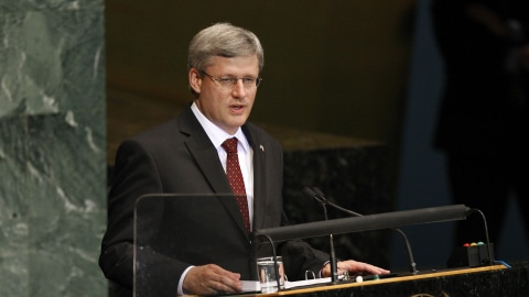 Stephen Harper au siège des Nations unies, à New York